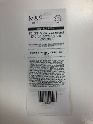 Marks & Spencer Voucher. £5 Off £40 Spend In Food Hall. Valid Dec 17th-24th.