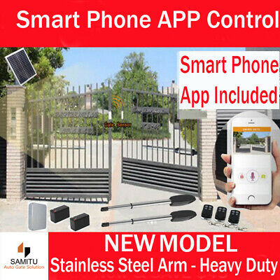 Double Swing Gate Opener Solar Electric Remote Control  Automatic Powered 50M