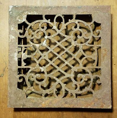 """Ornate Cast Iron Heating Grate Register Vent w/Louvers Fits 9 x 9"""" Hole"""