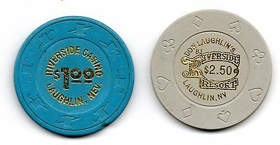Riverside $1.00 & $2.50 Casino Chips Laughlin NV TCR# N2858 & N9022 Lot of 2