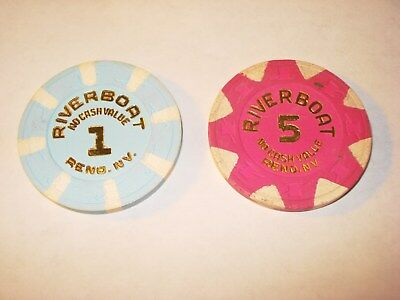 Riverboat $1.00 & $5.00 No Cash Value Casino Chips Reno NV TCR# N9018 N2693