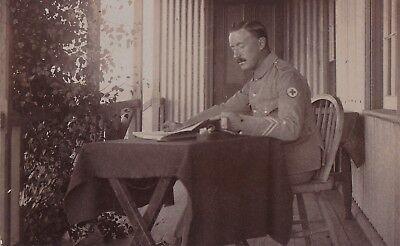 Original Vintage C Ww1 Real Photo Postcard, R.a.m.c.  Soldier Reading At Table.