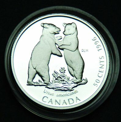 1996 Baby Black bear - 50¢ silver BU proof from the Little Wild Ones series