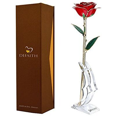 Red Gold Home Dcor Accents Rose, 24K Trimmed Long Stem Real With Moon-shape Last