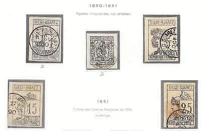 Diego Suarez stamps 1890 YV 6-10 / 6+10 signed CANC VF CAT VALUE $925
