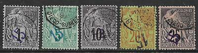 Diego Suarez stamps 1890 YV 1-5 including 4a(signed) CANC VF