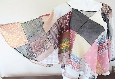Perfect Condition Awesome 1960's Hippy Patchwork Blouse w/Butterfly Sleeves