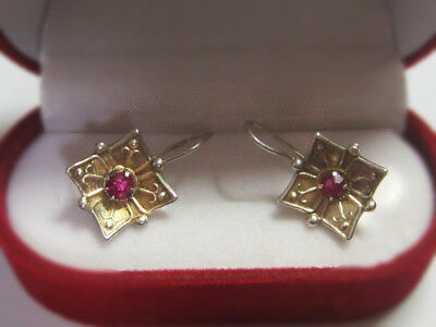 RARE Soviet EARRINGS SILVER PINK Stones Russian USSR Antique 875