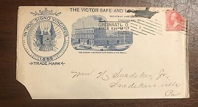 1897 Victor Safe And Lock Co. Cincinnati Ohio Oh. Cover Envelope