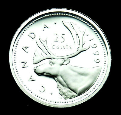 1999 Canadian 25¢ silver proof BU coin from the proof set