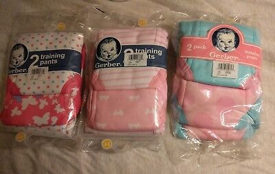 Lot of 3 Gerber Training Pants Underwear Pink 4-Pack Girls Size 3T