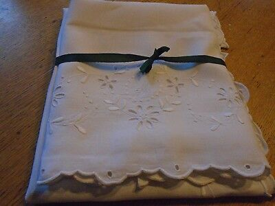 Pair Of Vintage Irish Linen Pillowcases - Embroidered, Monogrammed 'm'
