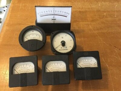 A collection of 6 Vintage Meters GE, Uni-Loc, D.C. Volts & Millamperes