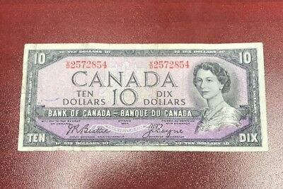 $10 Modified Portrait V:D 1954 Canada Bank Note Bank Of Canada Ten