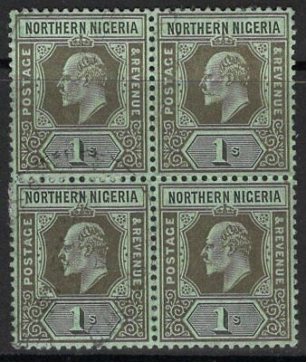 Northern Nigeria Sg36 1910 1/- Black/green Fine Used Block Of 4