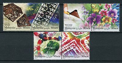 Malaysia 2017 MNH Canting Tie & Die Batik 6v Set Flowers Cultures Stamps