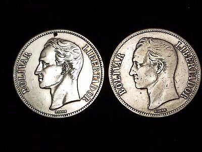 "1929 Venezuela 5 Bolivares Silver Circulated coins ""Holey"" - Lot of 2 (LN583)"