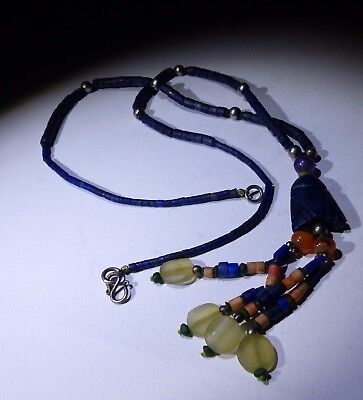 Ancient Carved Lapis Bead Necklace - No Reserve 06