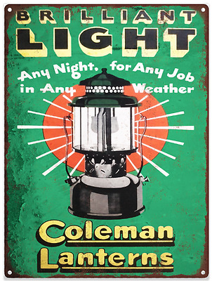 Coleman Lantern Lamp Camp Stove Ad Metal Repro Sign 9 x 12 60156