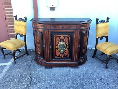 Renaissance revival inlaid Credenza Carved/ Victorian Cabinet. 1870s.