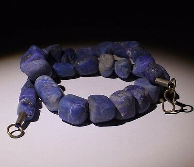 Large Ancient Carved Lapis Bead Necklace - No Reserve 0023