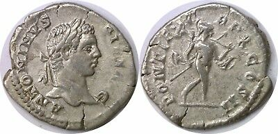 198-217 AD Roman Empire Caracalla Mars Naked Right Silver Denarius