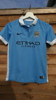 Manchester City 2015/2016 Home football top shirt by NIKE*Junior 10-12 Years, M