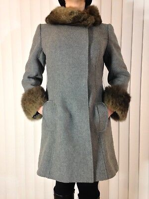 dc51a4fc8cc9 Vintage 1960s Grey Wool Coat w/ Fur Collar & Cuffs Jackie Stewart Junior  Petite