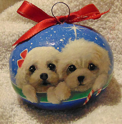 Bichon Dog Christmas Ornament Hand Painted Original Gourd Poodle Made In Usa