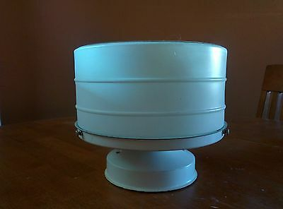 Vintage Art Deco White Glass Ceiling Light Fixture Kitchen Hall Bath Drum Flat