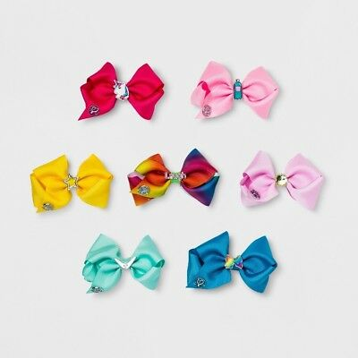 NEW JoJo Siwa Small 7 Days Of The Week Hair Bows Set Unicorn Rainbow Cheer