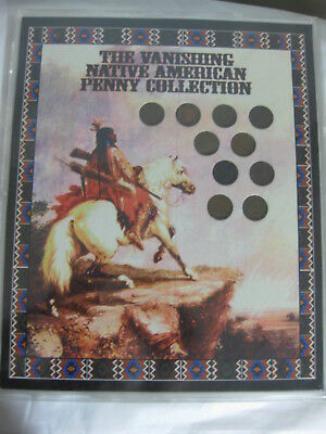 "10 Indian Head Pennys ""The Vanishing Native American Penny Collection 1887-1907"""