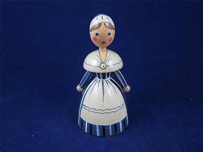 Old Antique Scandinavian Brass & Wood Hand Painted Lady Bell Made in Sweden
