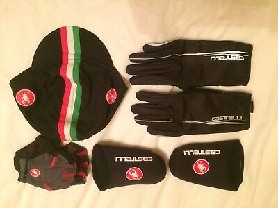 Castelli Accessories. Hat, Gloves x 2,  Toe Protectors All in good condition