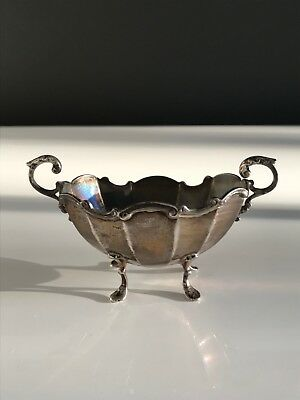 Hallmarked antique footed silver open salts