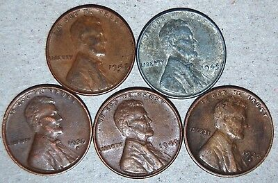 One 1943 Steel Wheat Penny & Four Copper Wheat Varied Yr/mint Mrks Circ Unsearch