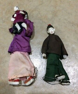 2 Antique Chinese Dolls, Mother w/Child & Boy, +Clothes/Costume, Figures