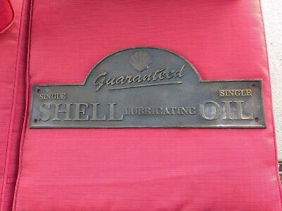 "Solid Cast Iron ""SHELL Oil Wall Plaque Sign Guaranteed"