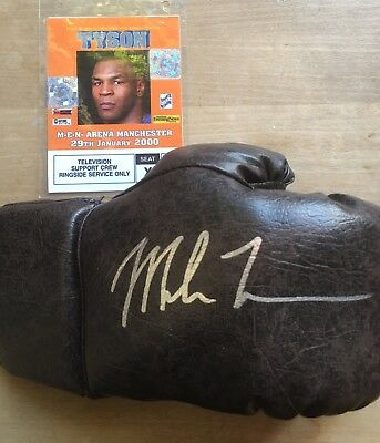 Mike Tyson Signed Boxing Glove & Hologram Pass