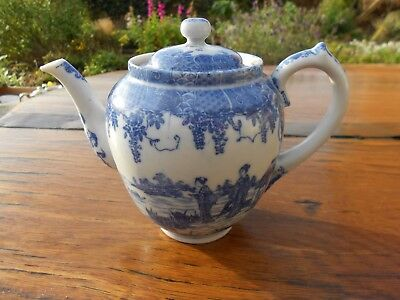 "Vintage Japanese Blue/White China Teapot and Lid Geishas 5"" tall"