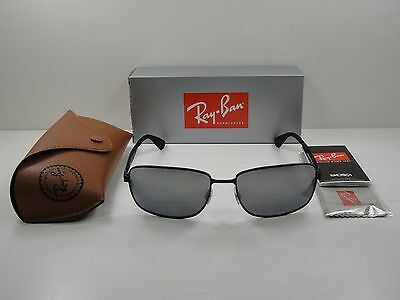 db6b85a087 RAY-BAN POLARIZED SUNGLASSES Rb3529 006 82 Black Frame silver Mirror Lens  61Mm