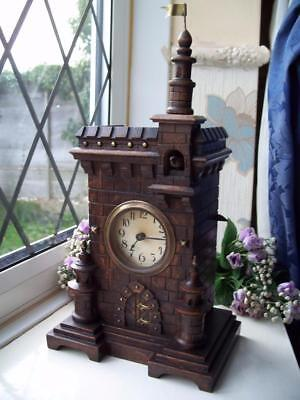 LOVELY ANTIQUE BLACK FOREST CASTLE CUCKOO TABLE / MANTLE CLOCK c1900