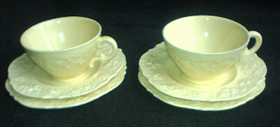 Crown Ducal  Cream Embossed Pattern Florentine Cup/Saucer/Plate Trio x 2