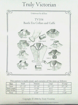 Sewing Pattern Truly Victorian TV104 make Vintage Collars and Cuffs