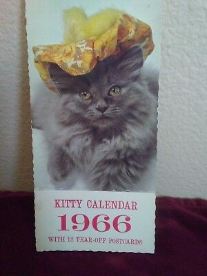 Vintage, Old, Collectible 1966 Kitty/Cat Calendar.Postcards, unused