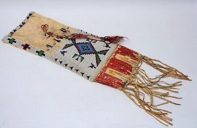 Antique Northern Plains Beaded and Quill Pipe Bag - late 19th century