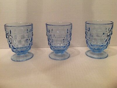 Three Depression Indiana American Whitehall Glass Blue Low Footed Goblets