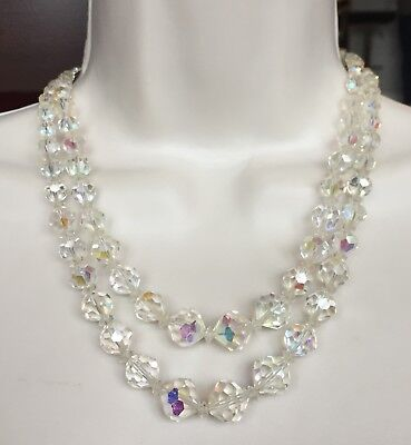 """Vintage Beaded AB Crystal Double Stranded Rhinestone Necklace 18"""" D019"""