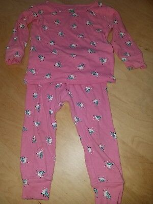 carters girl pink pjs with birds size 12 months