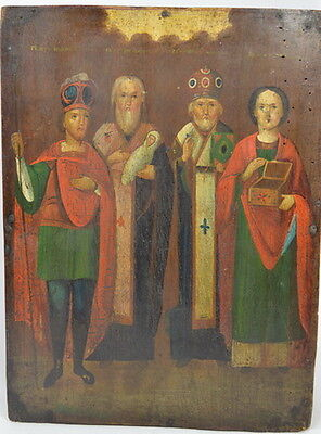 FOUR SAINTS - ANTIQUE OLD RUSSIAN HAND PAINTED WOODEN ICON, 315mm x 235mm